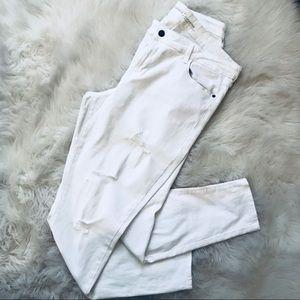 White Ripped Denim Rockstar Jeans
